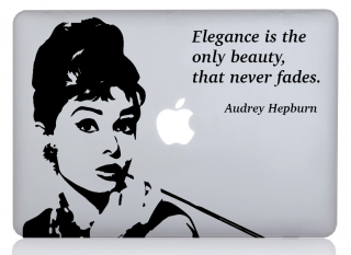 WOLFING 全サイズ対応 MacBook ステッカー オーダーメード対象 アートステッカー Audrey Hepburn オードリー ヘップバーン Elegance エレガンス ブラック