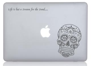 WOLFING 全サイズ対応 MacBook ステッカー アートステッカー スキンシール Sugar Skull シュガースカル グレー