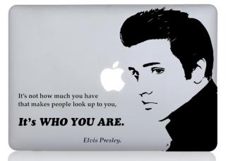 WOLFING 全サイズ対応 MacBook ステッカー アートステッカー スキンシール Elvis Presley エルビスプレスリー ブラック