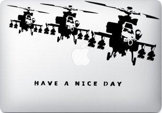 WOLFING 全サイズ対応 MacBook ステッカー アートステッカー スキンシール Banksy バンクシー Have a nice day ブラック