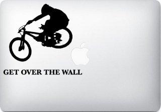 WOLFING 全サイズ対応 MacBook ステッカー アートステッカー スキンシール BMX Get Over the Wall ブラック