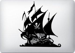 WOLFING 全サイズ対応 MacBook ステッカー アートステッカー スキンシール Pirate ship 海賊船 ブラック