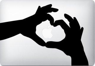 WOLFING 全サイズ対応 MacBook ステッカー アートステッカー スキンシール Heart Hands ハート ハンズ ブラック