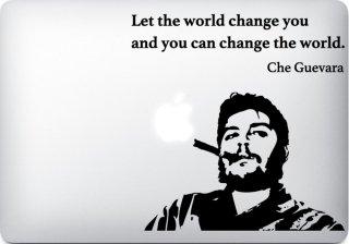 WOLFING 全サイズ対応 MacBook ステッカー アートステッカー スキンシール Che Guevara チェゲバラ smoking sigar ブラック