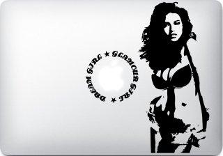 WOLFING 全サイズ対応 MacBook ステッカー アートステッカー スキンシール Glamour Girl ブラック