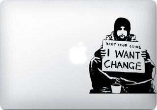 WOLFING 全サイズ対応 MacBook ステッカー アートステッカー スキンシール Banksy バンクシー I want change ブラック