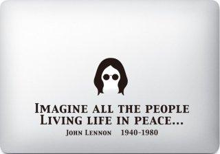 WOLFING 全サイズ対応 MacBook ステッカー アートステッカー スキンシール JOHN LENNON ジョンレノン Imagine ブラック