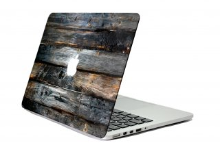 WOLFING スキンシール for MacBook Designed Mac suit マックスーツ Charcoal Wood Front