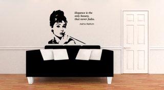 【受注生産品】ウォールステッカー Wall Sticker Audrey Hepburn オードリー ヘップバーン  Elegance エレガンス ブラック
