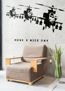 【受注生産品】ウォールステッカー Wall Sticker Banksy Have a nice day ブラック