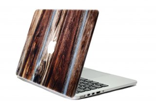 WOLFING スキンシール for MacBook Designed Mac suit マックスーツ Blue Rose Wood Front