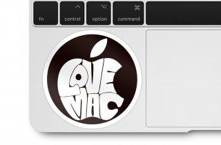 WOLFING 全サイズ対応 MacBook ステッカー I love Mac ブラック&ホワイト