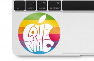 WOLFING 全サイズ対応 MacBook ステッカー I love Mac レインボー