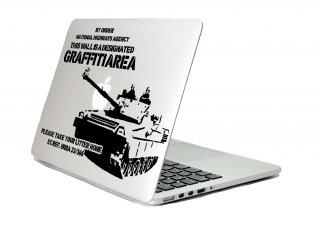 WOLFING 全サイズ対応 MacBook ステッカー Banksy バンクシー Graffiti Area ブラック