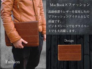 MacBook ケース&スタンド レザー 牛皮 ウルトラスリム ノートパソコン スリーブケース ジッパー付きポケット
