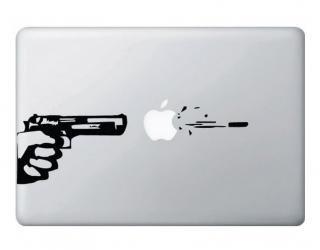 オーダーメード対応★全サイズ MacBook 対応 アートステッカー Gun and Bullet ブラック