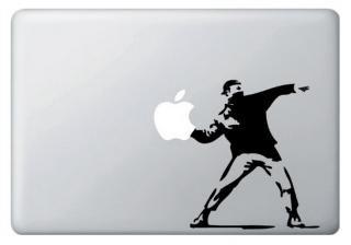 WOLFING MacBook ステッカー オーダーメード対応★アートステッカー Banksy バンクシー throwing apple スローイングアップル ブラック