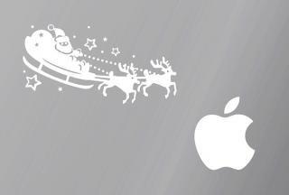 オーダーメード対応★全サイズMacBook ipad対応 アートステッカー クリスマス サンタクロース 白 限定商品