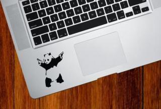 WOLFING 全サイズ対応 MacBook ステッカー スキンシール アートステッカー Banksy バンクシー The Shooting Panda キーボードサイズ ブラック