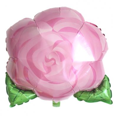 ピンクのバラ メタリックバルーン (横48cm×縦42cm)