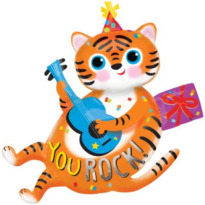 ギター猫 YOU ROCK! メタリックバルーン (横99cm×縦94cm)