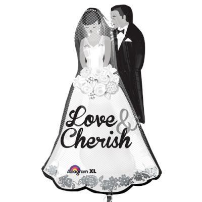 新郎新婦 Love & Cherish メタリックバルーン (横64cm×縦94cm)