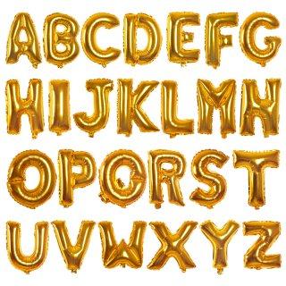 16インチアルファベット メタリックバルーン 金色 (全長41cm)