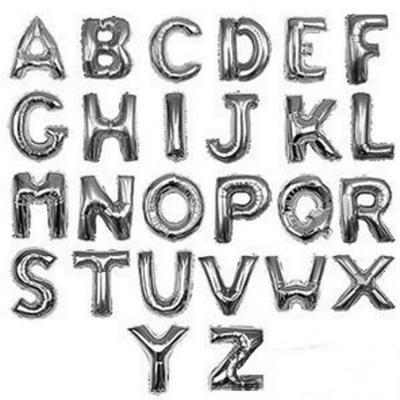 16インチアルファベット メタリックバルーン 銀色 (全長41cm)