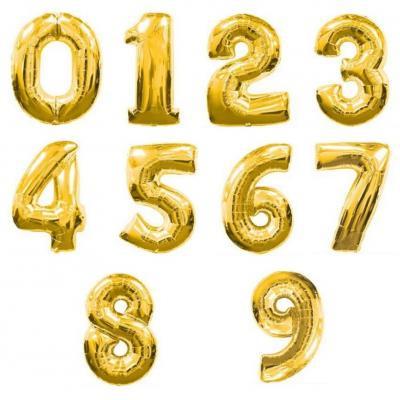 16インチ数字 メタリックバルーン 金色 (全長41cm)