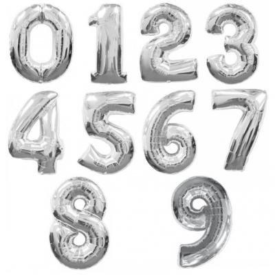 16インチ数字 メタリックバルーン 銀色 (全長41cm)