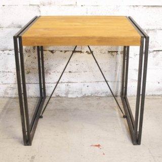 【eleguno】チーク&アイアン 2人掛けダイニングテーブル ナチュラル