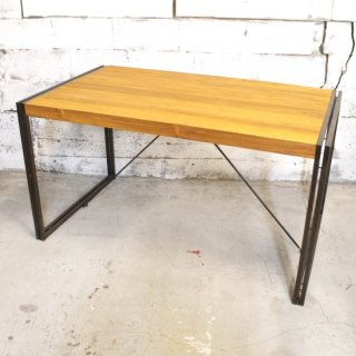 【eleguno】チーク&アイアン 4人掛けダイニングテーブル ナチュラル
