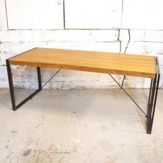 【eleguno】チーク&アイアン 6人掛けダイニングテーブル