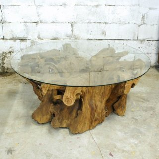 アンティークチーク&ガラス ラウンドセンターテーブル