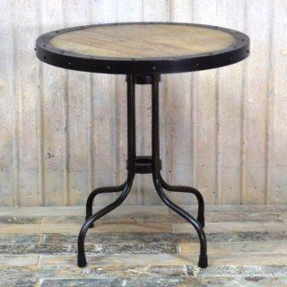 アンティークチーク&アイアン ラウンドテーブル