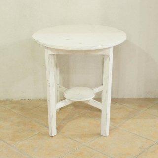 アンティークチーク ラウンドテーブル ホワイト