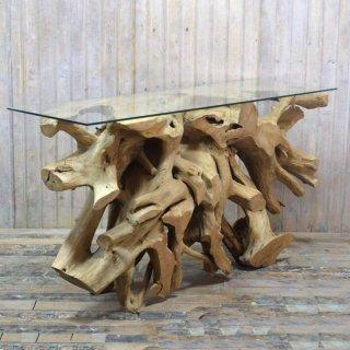 アンティークチーク 原木カウンターテーブル