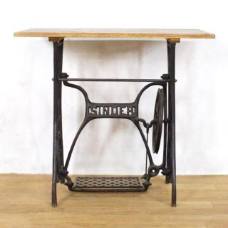 アンティークチーク ミシン脚リメイクテーブル