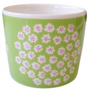マリメッコ PUKETTI COFFEE CUP グリーン×ホワイト×ピンク