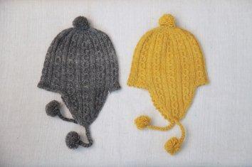 PUENTE 手紡ぎ耳付き帽|グレー(子ども用)