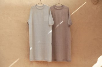COSMIC WONDER Silk linen wholegarment knit Tshirt dress