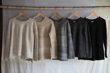 (PUENTEあたためるアルパカ展 2日目)手紡ぎ丸ヨークセーター Mサイズ