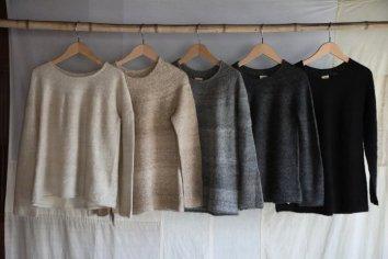 PUENTE 手紡ぎ丸ヨークセーター Mサイズ