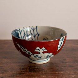 古赤絵 柘榴文(赤) 彫茶碗(大)