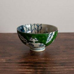 古赤絵 柘榴文 (緑) 彫茶碗 (小)