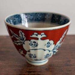 古赤絵 柘榴文(赤)鎬茶碗(大)