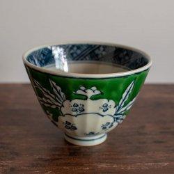 古赤絵 柘榴文(緑)鎬茶碗(大)