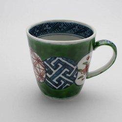 古伊万里手 古赤絵丸文繋 彫マグカップ(緑)