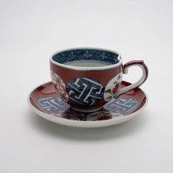 古伊万里手 古赤絵丸文繋 一方押コーヒーカップ・皿セット(赤)