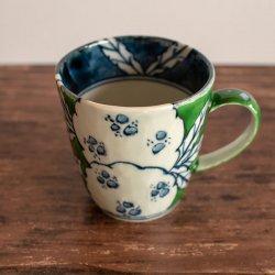 古赤絵 柘榴文 彫マグカップ (緑)